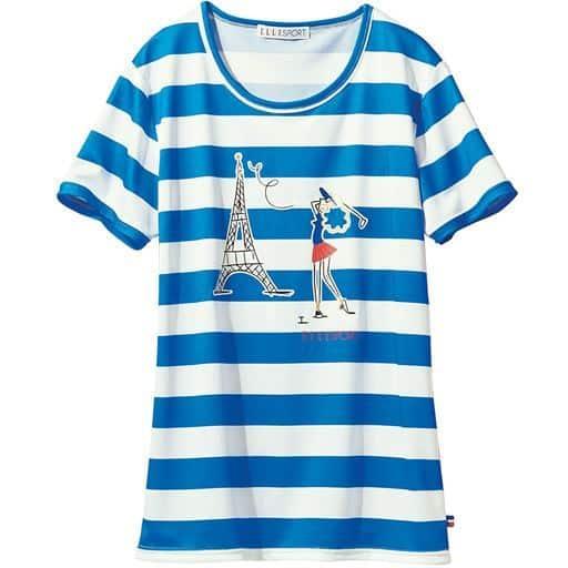 【レディース】 ボーダーTシャツ(ELLE SPORT)(吸汗速乾・UVカット) ■カラー:グレー ■サイズ:LL,L,M