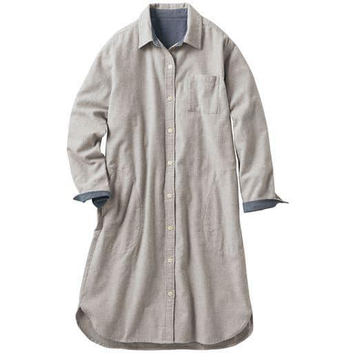 60%OFF【レディース】 綿100%やわらかネル素材のシャツワンピース ■カラー:グレー ■サイズ:S,M,3L