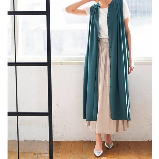 50%OFF【レディース】 スキッパーシャツワンピース - セシール ■カラー:ブルーグリーン ■サイズ:M,L,LL