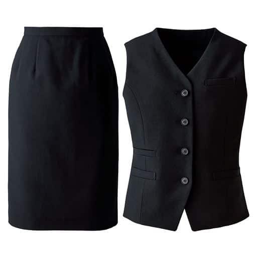 【レディース】 オフィスベストスーツ(ベスト+スカート)(洗濯機OK、撥水、防汚加工、形態安定、ストレッチ素材)(事務服) ■カラー:ブラック(無地) ■サイズ:7AR61,11AR67,13ABR76,15ABR80,17ABR84,19ABR88
