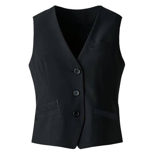 【レディース】 ストレッチベスト(3つボタン)(事務服・洗濯機OK) - セシール ■カラー:ブラック ■サイズ:19ABR,21ABR,7AR,9AR,15ABR,11AR