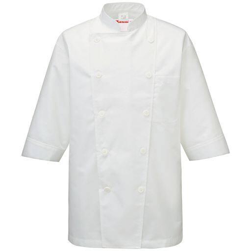 69%OFFコックシャツ(7分袖)(男女兼用・SS-4L・抗菌防臭) ■カラー:ホワイト ■サイズ:LL