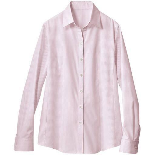【レディース】 形態安定ベルカラーシャツ(長袖)(抗菌防臭・UVカット・洗濯機OK) ■カラー:ミスティピンク ■サイズ:M,L,LL,3L