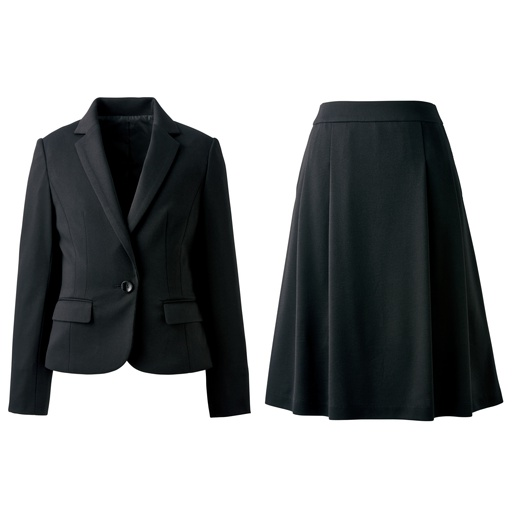 【レディース】 ジャージスカートスーツ(洗濯機OK) - セシール ■カラー:ブラック ■サイズ:9AR64,7AR61,11AT67,21ABR92,7AP61,11AR67,15ABR80,17ABR84,5AP58,13AT70,19ABR88,13ABR76,13AR70