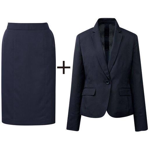 40%OFF【レディース】 スカートスーツ(ジャケット+スカート)(接触冷感・吸汗速乾・洗濯機OK・CoolBestII) ■カラー:ネイビー系(グレーストライプ) ■サイズ:7AR61,9AR64,11AR67,13AR70,13ABR76,15ABR80,17ABR84,19ABR88,21ABR92