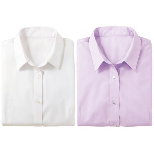 【レディース】形態安定2枚組レギュラーカラーシャツ(七分袖) ■カラー:ホワイト+ラベンダー ■サイズ:M、LL、S、3L、L