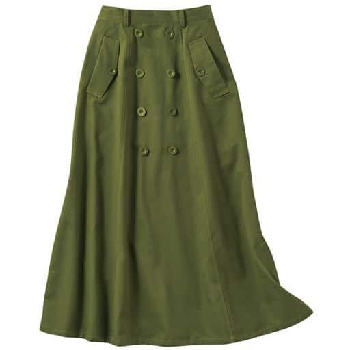 69%OFF【レディース】 ロングチノスカート(綿100%) ■カラー:オリーブ ■サイズ:S,M,L