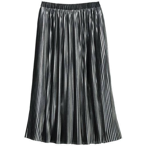 49%OFF! 【レディース】 光沢プリーツスカート - セシール ■カラー:ブラック系 ■サイズ:3L