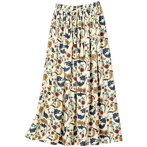 タッセル付きプリントスカート