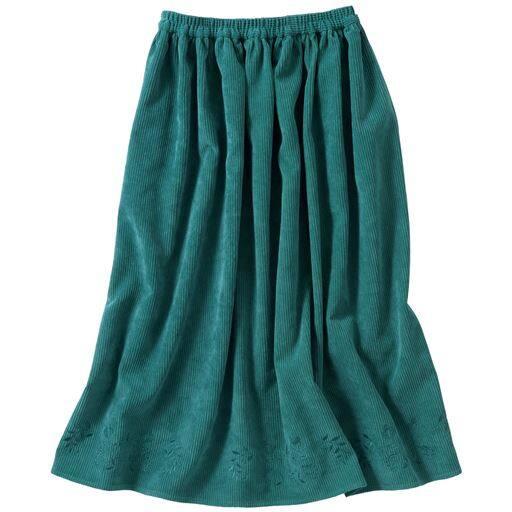 70%OFF【レディース】 刺しゅう入りコーデュロイフレアスカート - セシール ■カラー:グリーン ■サイズ:S,3L