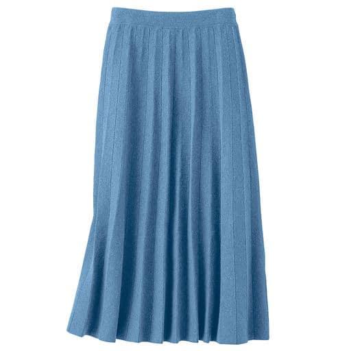 70%OFF【レディース】 ニットプリーツスカート - セシール ■カラー:クラウドブルー ■サイズ:LL,3L