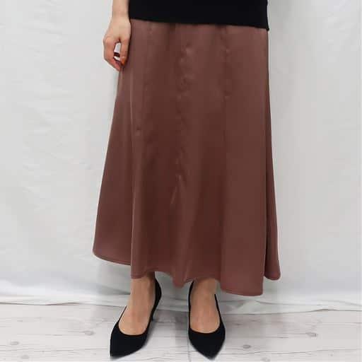 <セシール> 30%OFF! 【レディース】 サテンマーメイドスカート ■カラー:ブラウン ■サイズ:LSM