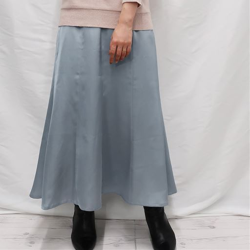 <セシール> 30%OFF! 【レディース】 サテンマーメイドスカート - セシール ■カラー:ブルーグレー ■サイズ:LSM