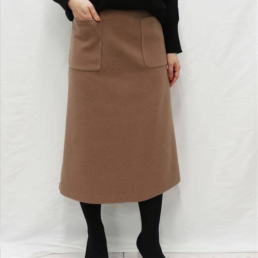 <セシール> 30%OFF! 【レディース】 ウール調Aラインスカート - セシール ■カラー:ライトブラウン ■サイズ:SML