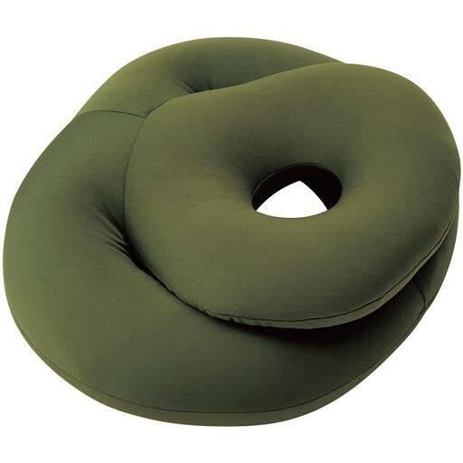 お昼寝ビーズクッション - セシール ■カラー:カーキ ■サイズ:円形(約35×30cm)
