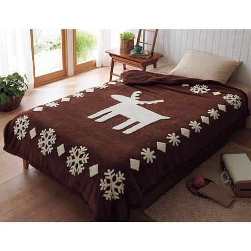 「吸湿発熱」シープ調2枚合わせ毛布(エルク柄) ■カラー:ブラウン ワイン ■サイズ:シングル(140×200cm)と題した写真