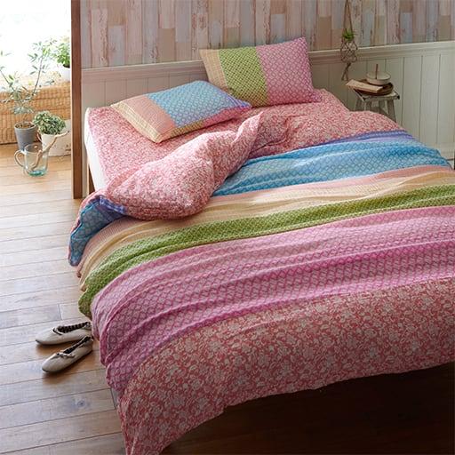 パッドシーツ 洗いざらしのダブルガーゼ ■カラー:ローズピンク ■サイズ:シングル(100×205cm),セミダブル(120×205cm)と題した写真