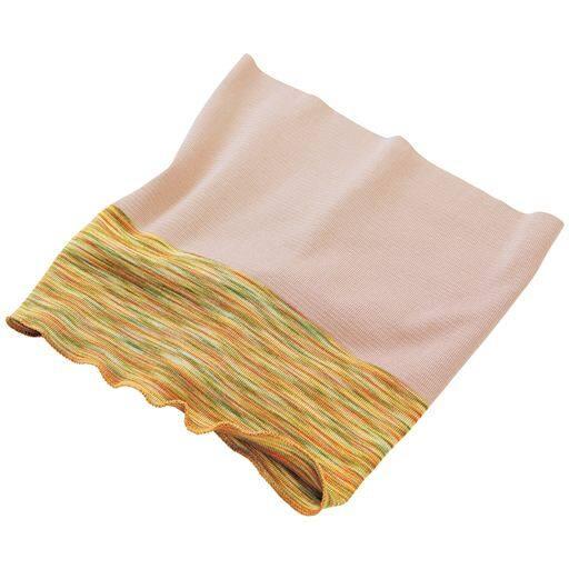 シルク混かすり染めネックカバー - セシール ■カラー:ミモザ