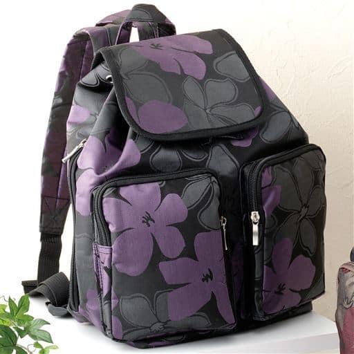 【レディース】 花柄ジャカードおでかけリュック - セシール ■カラー:パープル