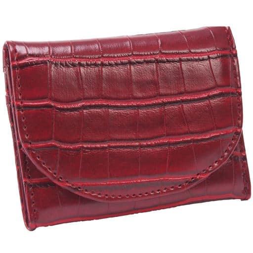 【レディース】 クロコ型押し手の平財布 ■カラー:ワイン