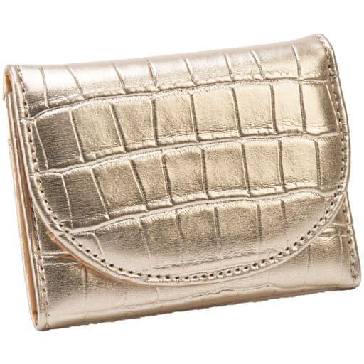【レディース】 クロコ型押し手の平財布 ■カラー:ゴールド