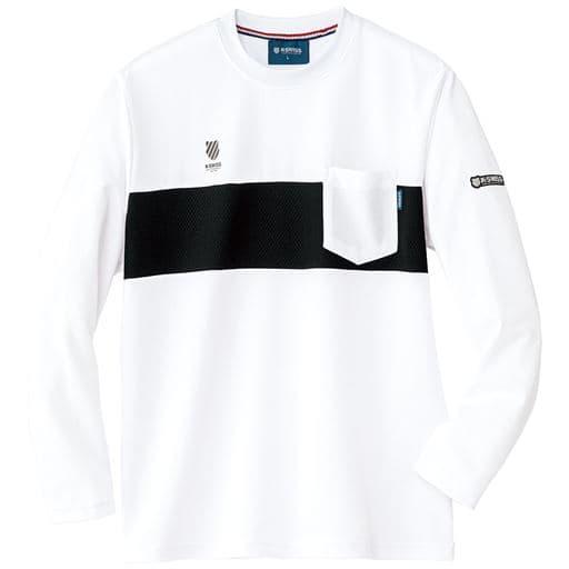 【メンズ】 吸汗速乾機能付き ドライクルーネック胸ポケット付き長袖Tシャツ(ケースイス)メンズスポーツ - セシール ■カラー:ホワイト ■サイズ:M,L