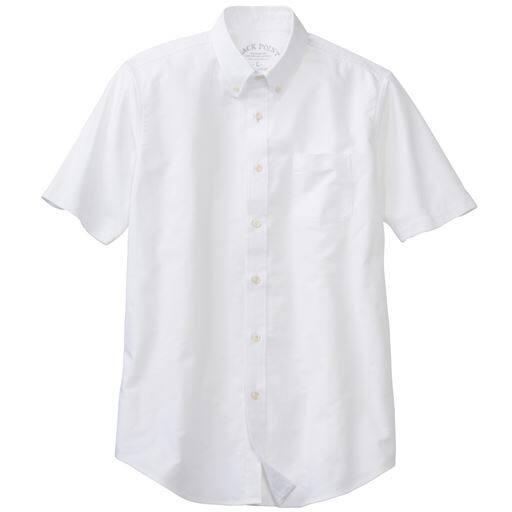 【メンズ】 綿100%オックスフォード素材のシャツ(半袖)きれいめにもカジュアルにもつかいやすい ■カラー:ホワイト ■サイズ:7L,L,LL,3L,5L,S,M