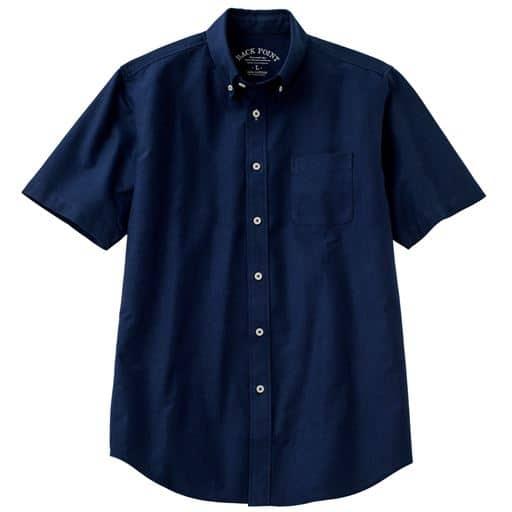 【メンズ】 綿100%オックスフォード素材のシャツ(半袖)きれいめにもカジュアルにもつかいやすい ■カラー:ネイビー系 ■サイズ:S,M,L,LL,3L,5L,7L