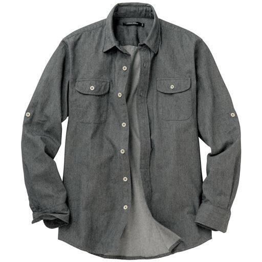 【メンズ】 綿100%ツイルロールアップシャツ ■カラー:グレー ■サイズ:S,M,L,LL,3L,5L