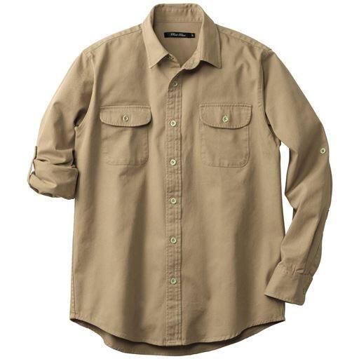 45%OFF【メンズ】 綿100%ツイルロールアップシャツ ■カラー:ベージュ ■サイズ:S,M,L,LL,3L,5L