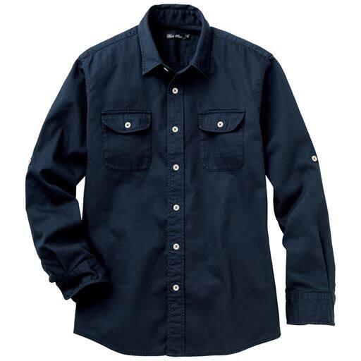10%OFF【メンズ】 綿100%ツイルロールアップシャツ ■カラー:ネイビー ■サイズ:S,L