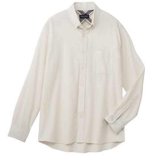 30%OFF【メンズ】 綿100%ソフトフランネルシャツ(ボタンダウン仕様) - セシール ■カラー:ホワイト ■サイズ:L,LL,M,3L,5L