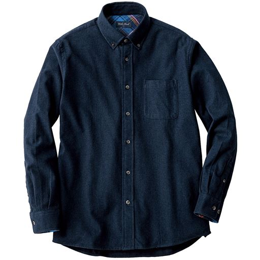 【メンズ】 綿100%ソフトフランネルシャツ(ボタンダウン仕様) - セシール ■カラー:ネイビー ■サイズ:M,L,LL,3L,5L