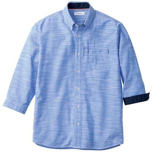 【メンズ】 綿100%スマホ対応ポケット付きシャツ(7分袖) ■カラー:ブルー ■サイズ:5L,M,L,LL,3L