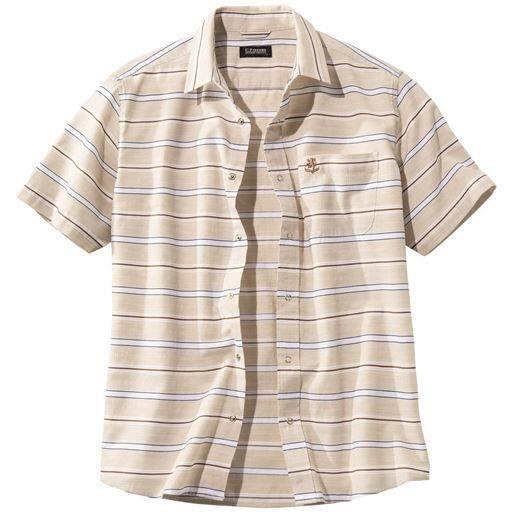 【メンズ】 抗菌・防臭・胸刺繍ボーダーシャツ(UPレノマ) ■カラー:ベージュ系 ■サイズ:M,L,LL