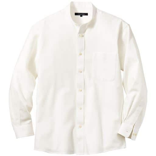 【メンズ】 綿100%フレンチツイル・シャツ バンドカラー&レギュラーカラーの2タイプ ■カラー:ホワイトB(バンドカラー) ■サイズ:M,L,LL,3L,5L