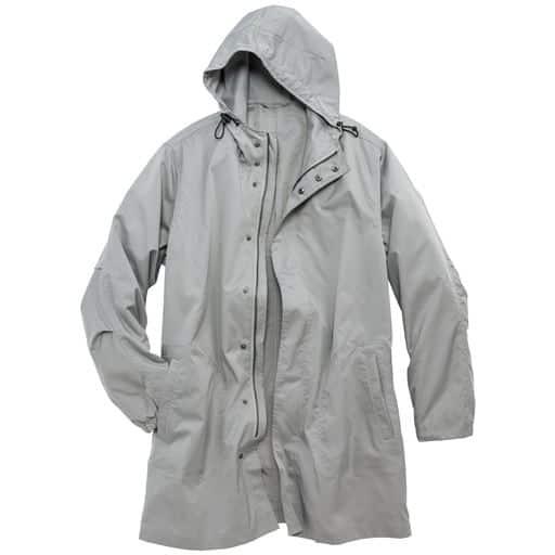 50%OFF【メンズ】 はっ水・ストレッチ素材のフード付きデザインコート - セシール ■カラー:ライトグレー ■サイズ:LL,3L