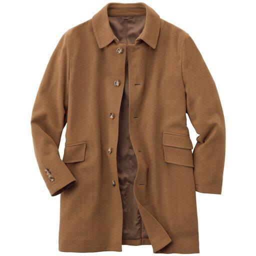 【メンズ】 ストレッチ・ウール混素材ステンカラーコート ■カラー:キャメル ■サイズ:M,L,LL,3L,5L