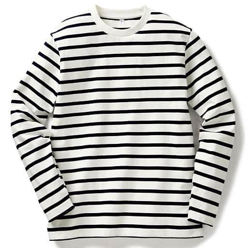 【メンズ】 オーガニックコットン100%Tシャツ(長袖) 糸の製法にまでこだわった一枚。 ■カラー:ボーダーA(ホワイトxネイビー) ■サイズ:M,7L,L,5L,LL,3L