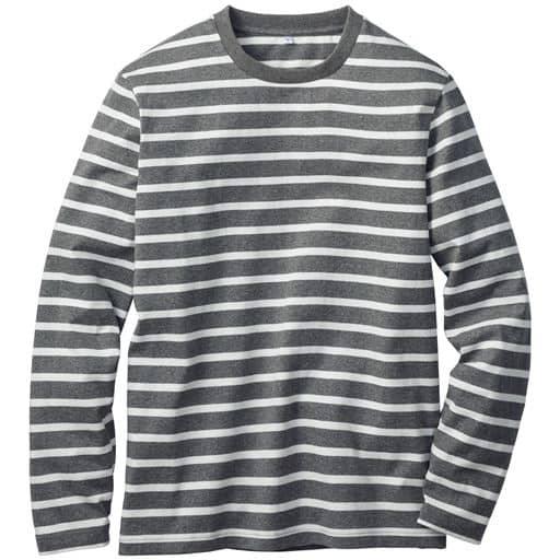 【メンズ】 オーガニックコットン100%Tシャツ(長袖) 糸の製法にまでこだわった一枚。 - セシール ■カラー:ボーダーB(グレーxホワイト) ■サイズ:5L,3L,LL,7L