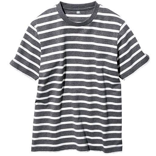 【メンズ】 オーガニックコットン100%Tシャツ(半袖) 糸の製法にまでこだわった一枚。 ■カラー:ボーダーB(チャコールグレー×ホワイト) ■サイズ:7L,L,M,3L,LL,S,5L