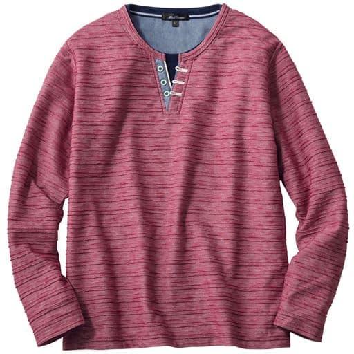 【メンズ】 売れてます!レイヤードデザイン・ヘンリーネックTシャツ(長袖) - セシール ■カラー:ワイン系 ■サイズ:M,LL,3L,5L,L