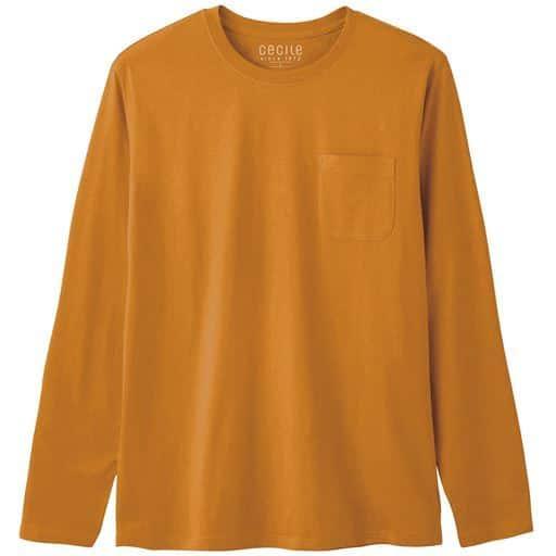 【レディース】 綿100%クルーネックTシャツ(長袖)/オーガニックコットン使用素材 ■カラー:マスタード ■サイズ:S,M,L,LL,3L,5L,7L