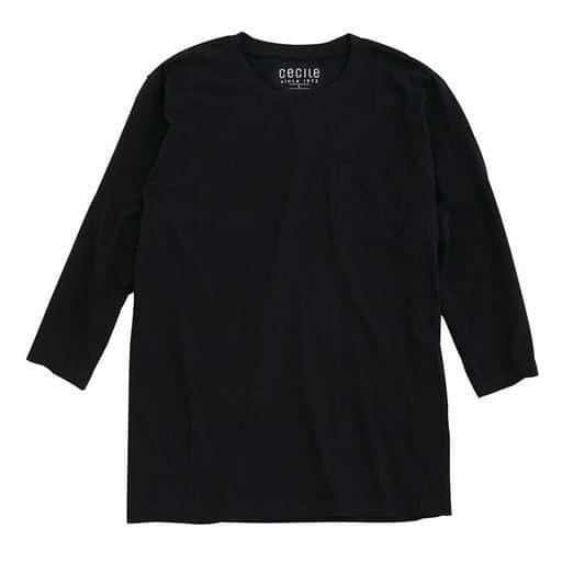 【レディース】 綿100%クルーネックTシャツ(7分袖)/オーガニックコットン使用素材 ■カラー:ブラック ■サイズ:M,7L