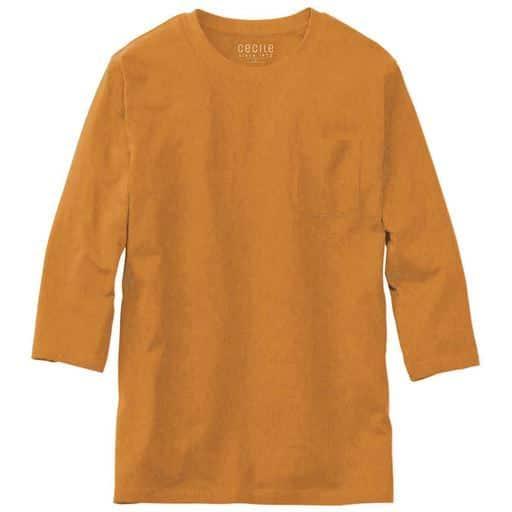 【レディース】 綿100%クルーネックTシャツ(7分袖)/オーガニックコットン使用素材 ■カラー:マスタード ■サイズ:S,M,L,LL,5L,7L