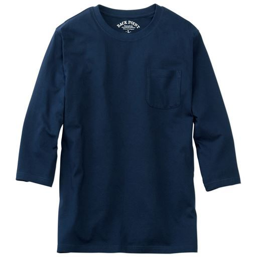 【レディース】 綿100%クルーネックTシャツ(7分袖)/オーガニックコットン使用素材 ■カラー:ダークネイビー ■サイズ:M,3L,5L,7L