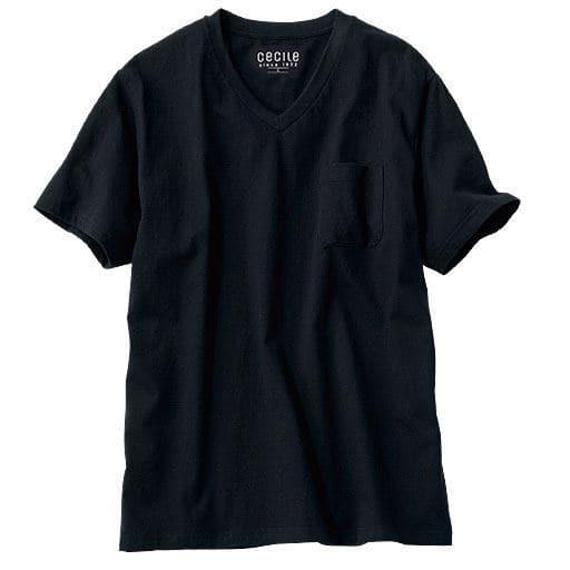 【レディース】 オーガニックコットン100% Tシャツ/Vネック(半袖) ■カラー:ブラック ■サイズ:S,LL,3L,5L,7L