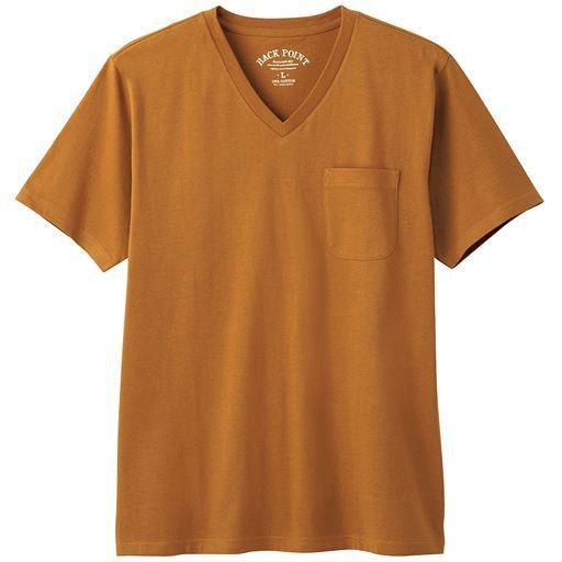 【レディース】 オーガニックコットン100% Tシャツ/Vネック(半袖) ■カラー:キャメル ■サイズ:S,M,L,LL,3L,5L,7L