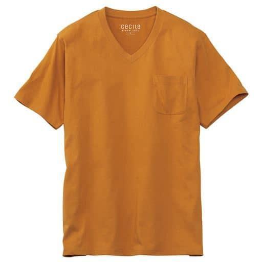 【レディース】 綿100%VネックTシャツ(半袖)/オーガニックコットン使用素材 ■カラー:マスタード ■サイズ:S,M,L,LL,3L,5L,7L