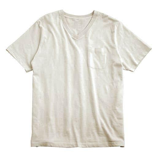 【レディース】 オーガニックコットン100% Tシャツ/Vネック(半袖) ■カラー:オートミール ■サイズ:M,L,LL,3L,5L,7L